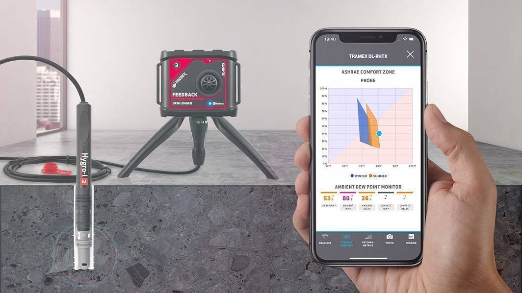 Tramex FBZK 5.1 Feedback Datalogger in situ cut concrete with app